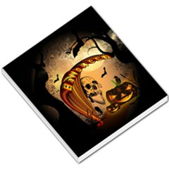 Halloween, Funny Pumpkin With Skull And Spider In The Night Small Memo Pads by FantasyWorld7