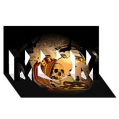 Halloween, Funny Pumpkin With Skull And Spider In The Night Mom 3d Greeting Card (8x4) by FantasyWorld7