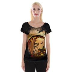 Halloween, Funny Pumpkin With Skull And Spider In The Night Women s Cap Sleeve Top by FantasyWorld7