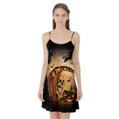 Halloween, Funny Pumpkin With Skull And Spider In The Night Satin Night Slip by FantasyWorld7