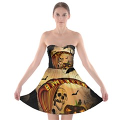 Halloween, Funny Pumpkin With Skull And Spider In The Night Strapless Dresses by FantasyWorld7