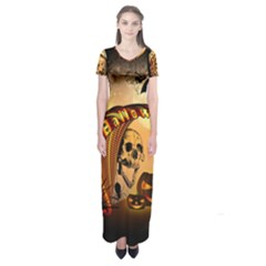 Halloween, Funny Pumpkin With Skull And Spider In The Night Short Sleeve Maxi Dress by FantasyWorld7