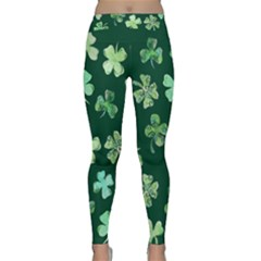 Lucky Shamrocks Yoga Leggings  by BubbSnugg