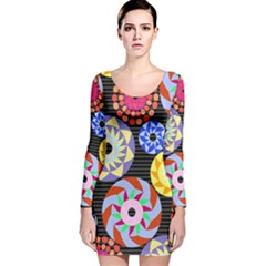 Colorful Retro Circular Pattern Long Sleeve Velvet Bodycon Dress by DanaeStudio