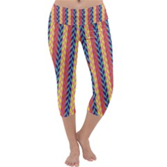 Colorful Chevron Retro Pattern Capri Yoga Leggings by DanaeStudio
