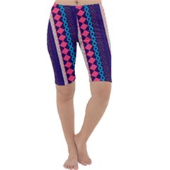 Purple And Pink Retro Geometric Pattern Cropped Leggings  by DanaeStudio