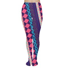 Purple And Pink Retro Geometric Pattern Tights by DanaeStudio