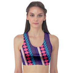 Purple And Pink Retro Geometric Pattern Sports Bra