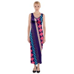 Purple And Pink Retro Geometric Pattern Fitted Maxi Dress by DanaeStudio