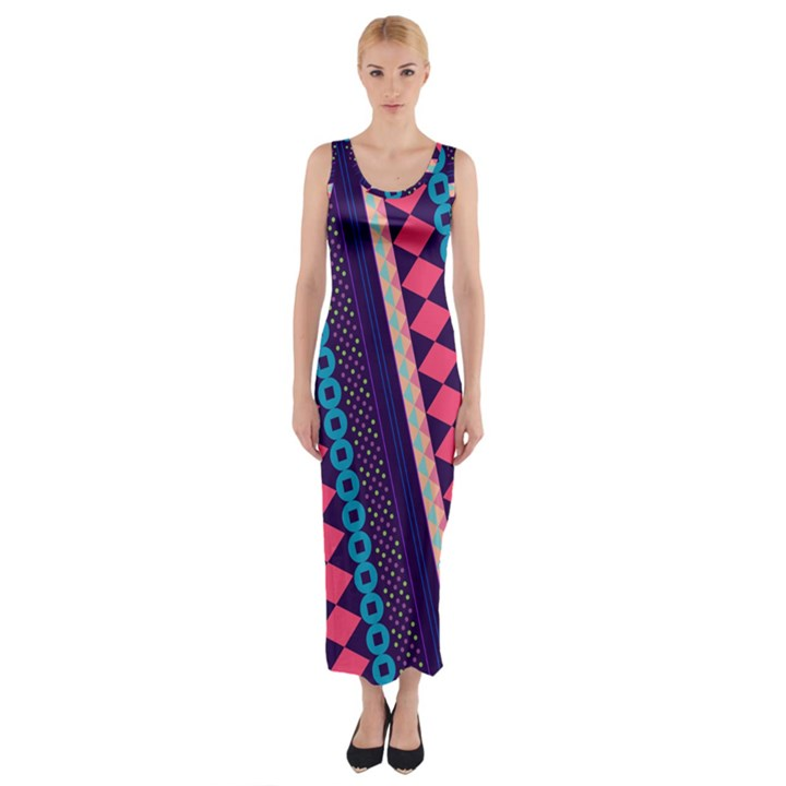 Purple and Pink Retro Geometric Pattern Fitted Maxi Dress