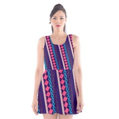 Purple And Pink Retro Geometric Pattern Scoop Neck Skater Dress by DanaeStudio
