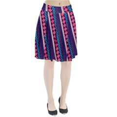 Purple And Pink Retro Geometric Pattern Pleated Skirt by DanaeStudio