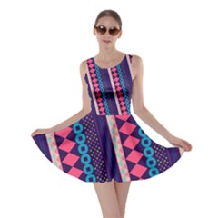 Purple And Pink Retro Geometric Pattern Skater Dress by DanaeStudio