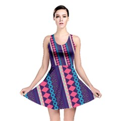 Purple And Pink Retro Geometric Pattern Reversible Skater Dress by DanaeStudio