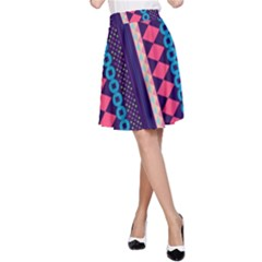 Purple And Pink Retro Geometric Pattern A Line Skirt by DanaeStudio