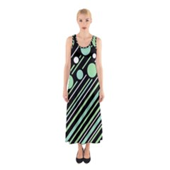 Green Transformaton Sleeveless Maxi Dress by Valentinaart