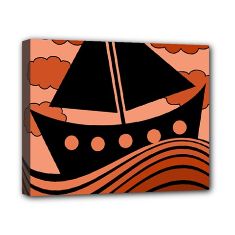 Boat   Red Canvas 10  X 8  by Valentinaart