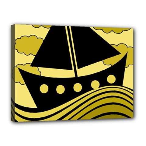 Boat   Yellow Canvas 16  X 12  by Valentinaart