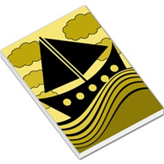 Boat   Yellow Large Memo Pads by Valentinaart