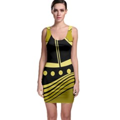 Boat - Yellow Sleeveless Bodycon Dress by Valentinaart