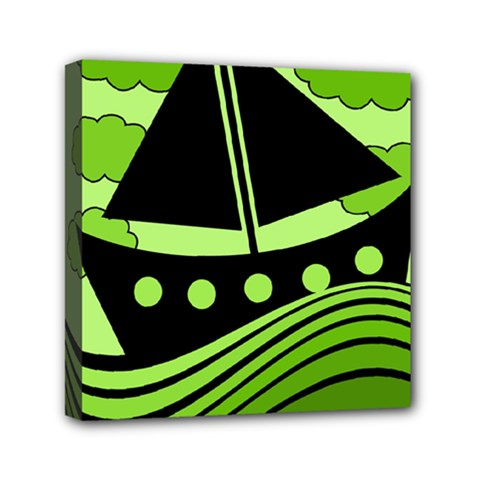 Boat   Green Mini Canvas 6  X 6