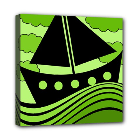 Boat   Green Mini Canvas 8  X 8  by Valentinaart