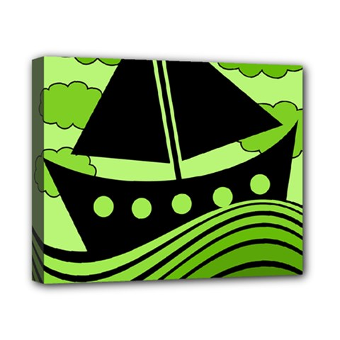 Boat   Green Canvas 10  X 8  by Valentinaart