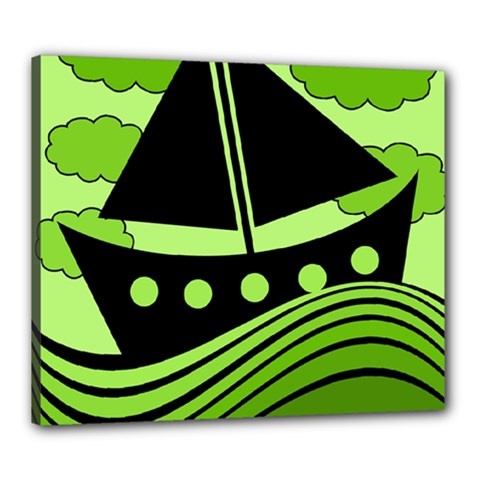 Boat   Green Canvas 24  X 20  by Valentinaart