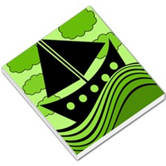 Boat   Green Small Memo Pads by Valentinaart