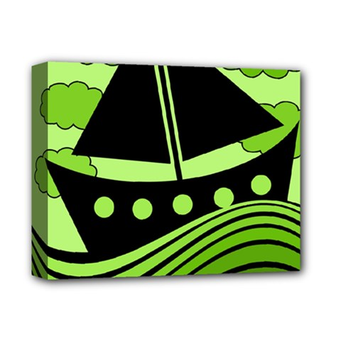 Boat   Green Deluxe Canvas 14  X 11  by Valentinaart