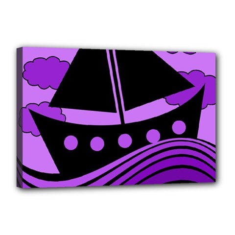 Boat   Purple Canvas 18  X 12  by Valentinaart
