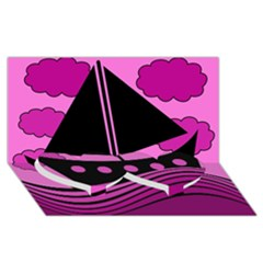Boat   Magenta Twin Heart Bottom 3d Greeting Card (8x4) by Valentinaart