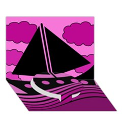 Boat   Magenta Circle Bottom 3d Greeting Card (7x5) by Valentinaart
