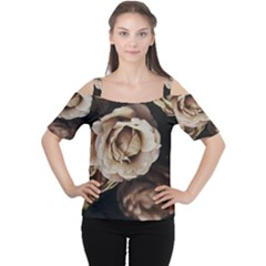 Roses Flowers Women s Cutout Shoulder Tee