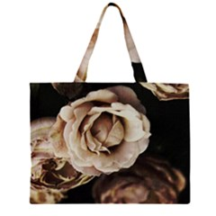 Roses Flowers Zipper Large Tote Bag by vanessagf
