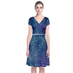 Constellations Short Sleeve Front Wrap Dress by DanaeStudio