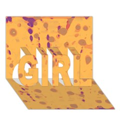 Orange Decor Girl 3d Greeting Card (7x5)