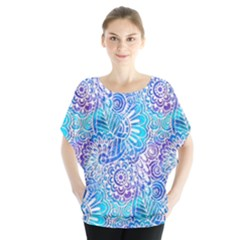 Boho Flower Doodle On Blue Watercolor Blouse