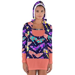 Colorful High Heels Pattern Women s Long Sleeve Hooded T-shirt