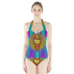 Flower Mice In Peace Balls Pop Art Halter Swimsuit by pepitasart
