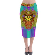 Flower Mice In Peace Balls Pop Art Midi Pencil Skirt by pepitasart
