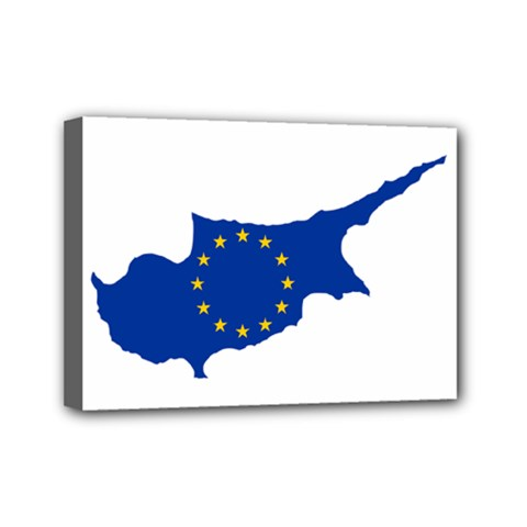 European Flag Map Of Cyprus  Mini Canvas 7  X 5