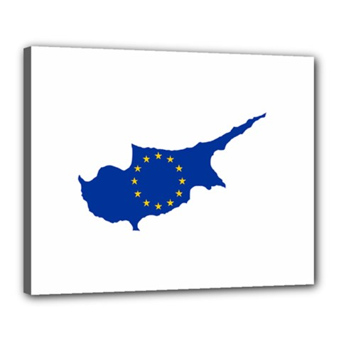European Flag Map Of Cyprus  Canvas 20  X 16