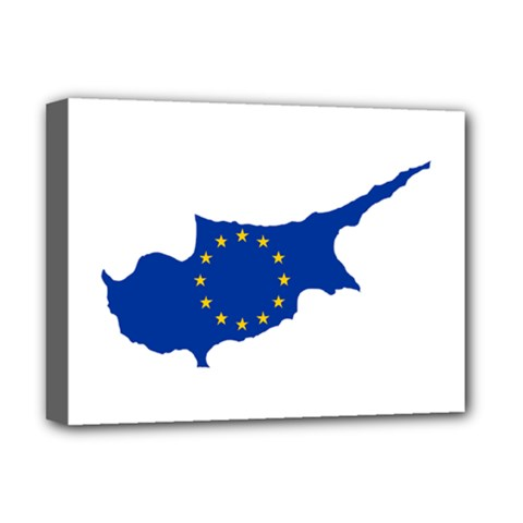 European Flag Map Of Cyprus  Deluxe Canvas 16  X 12