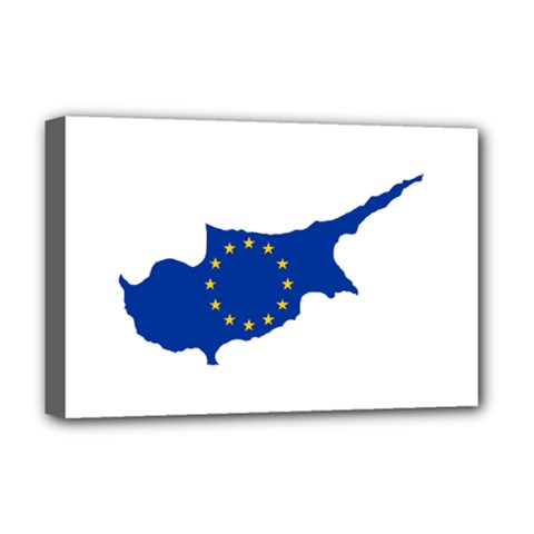 European Flag Map Of Cyprus  Deluxe Canvas 18  X 12