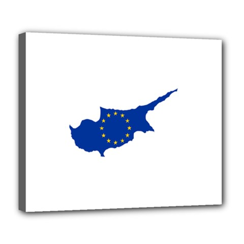 European Flag Map Of Cyprus  Deluxe Canvas 24  X 20