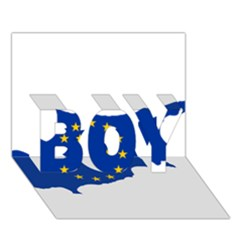 European Flag Map Of Cyprus  Boy 3d Greeting Card (7x5)