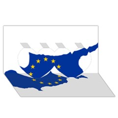 European Flag Map Of Cyprus  Twin Hearts 3d Greeting Card (8x4)