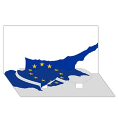 European Flag Map Of Cyprus  Twin Heart Bottom 3d Greeting Card (8x4) by abbeyz71