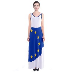European Flag Map Of Cyprus  Sleeveless Maxi Dress